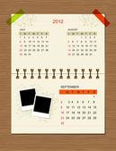 Vector calendar 2012,september. — Stock Vector