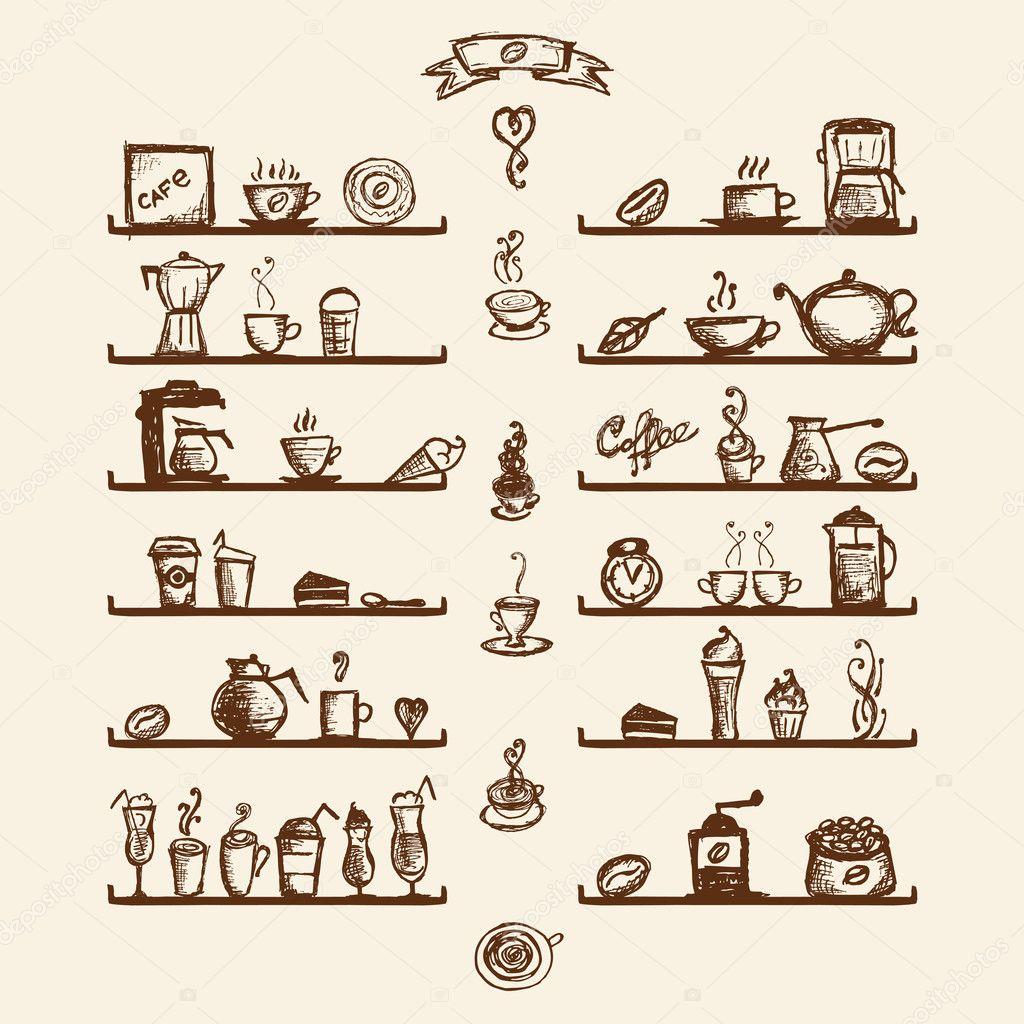Utensílios de cozinha em prateleiras para casa de café sketch de  #4D1F04 1024 1024