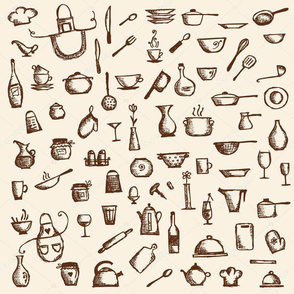 Utensílios de cozinha esboço de desenho para seu projeto — Vetor  #4D1D04 1024 1024