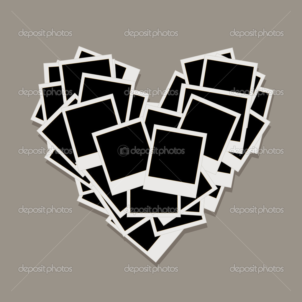 Heart shape made from photo frames, insert your photos  Stock Vector #7324425