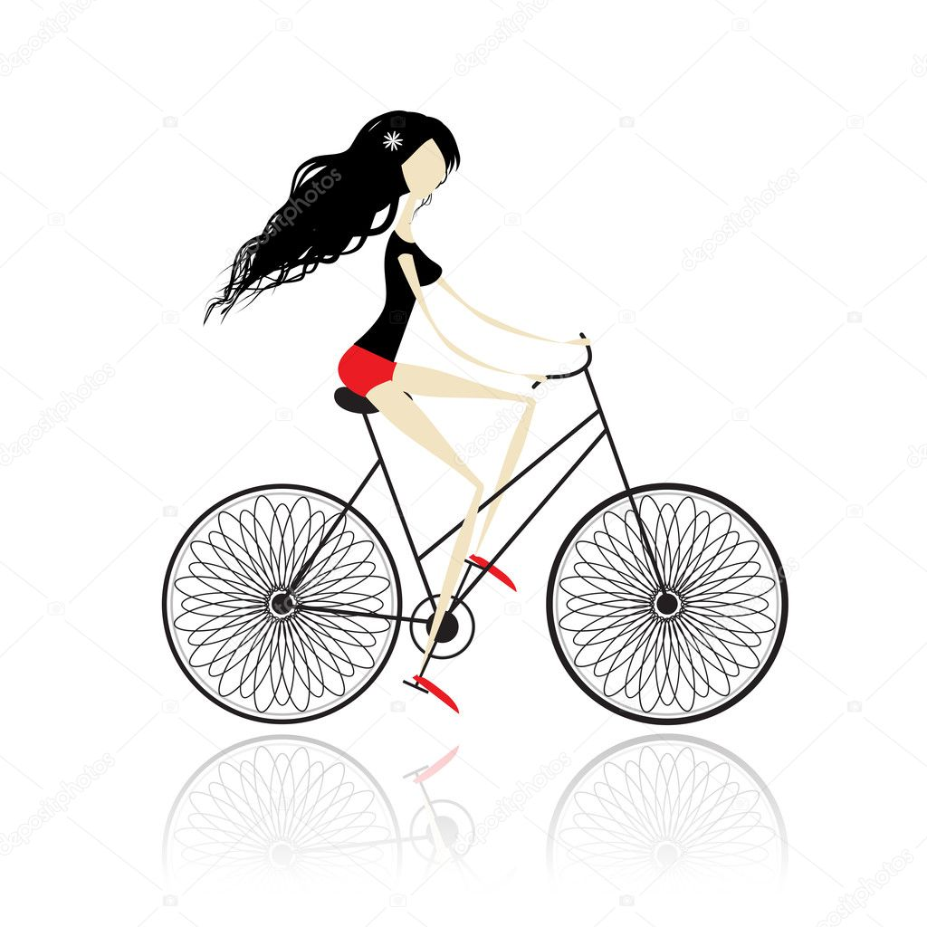 Girl cycling — Stock Vector #7327730