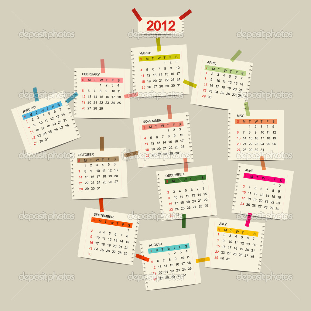 Vector calendar 2012 for your design  Stock Vector #7328045