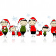 Christmas shopping. Happy family together — Stock Vector