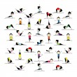 Practicing yoga, 25 poses for your design — Image vectorielle