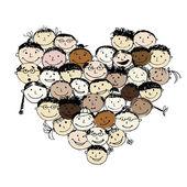 Счастливые народы, формы сердца для вашего дизайна — Cтоковый вектор