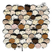 Crowd of funny peoples for your design — Stock Vector