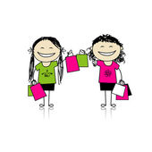 Shopping with friends. Girls with bags for your design — Stock Vector