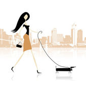 Girl with dog walking in the city — Stock Vector