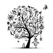 Halloween tree for your design — Stock Vector