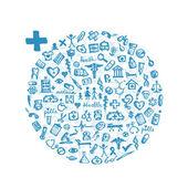 Marco con iconos de médicos para su diseño — Vector de stock