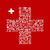 Cross form med medicinsk ikoner för din design — Stockvektor