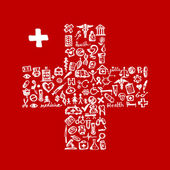 Forma di croce con icone mediche per il vostro disegno — Vettoriale Stock