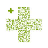 Cross shape with medical icons for your design — Stock Vector