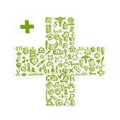Forma cruzada con los iconos médicos para su diseño — Vector de stock