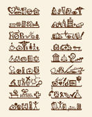 Schappen met medische pictogrammen voor uw ontwerp — Stockvector