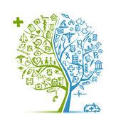 您的设计的医疗树概念 — 图库矢量图片