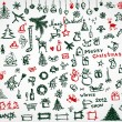 Christmas icons, sketch drawing for your design - Stok Vektör