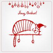 рождественская открытка, смешные кошки санта для вашего дизайна — Cтоковый вектор