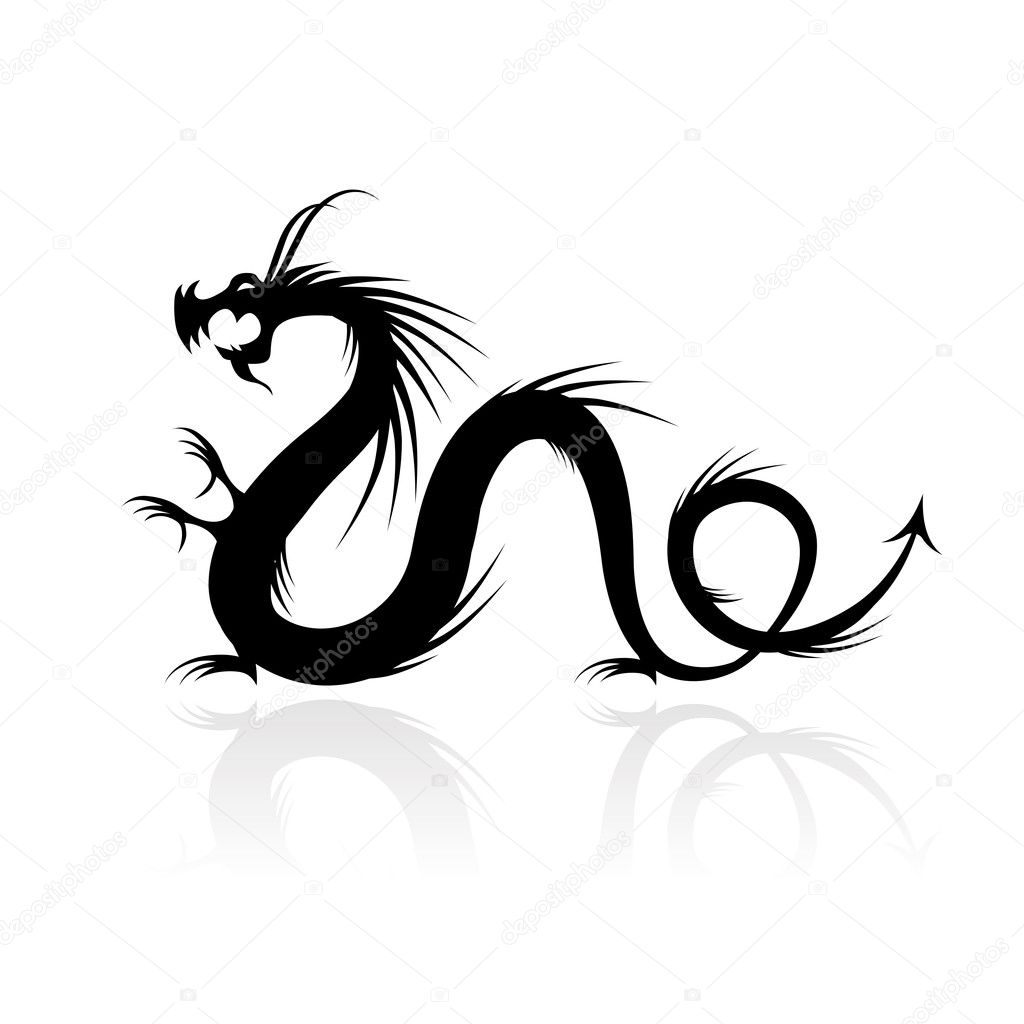 Dragon tattoo vector illustration for your design — Stock Vector #7680990