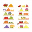 Shelves with fruits for your design — Stock Vector