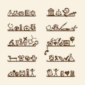 Hyllor med medicinsk ikoner för din design — Stockvektor