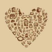 Temps de café, en forme de cœur pour votre conception — Vecteur