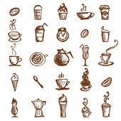 кофе эскиз, элементы дизайна — Cтоковый вектор
