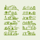 Shelves with ecology icons for yuor design — Vector de stock