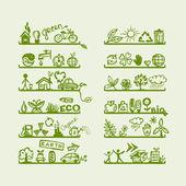 étagères avec des icônes de l'écologie pour votre conception — Vecteur