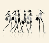Fashion girls with shopping bags, illustration for your design — Stock Vector