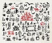 Sketch of halloween design elements — Stock Vector