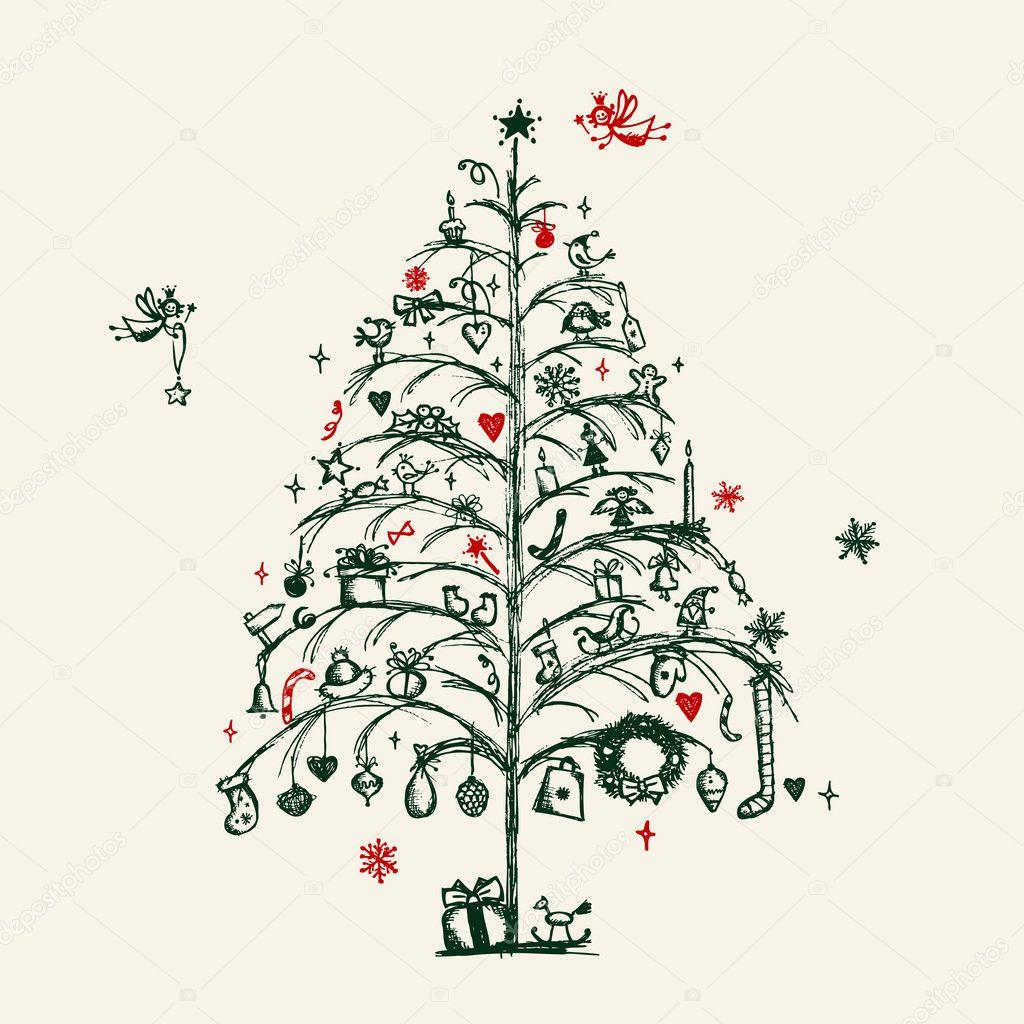 Dibujo de rbol de navidad para su dise o vector de - Arbol navidad diseno ...