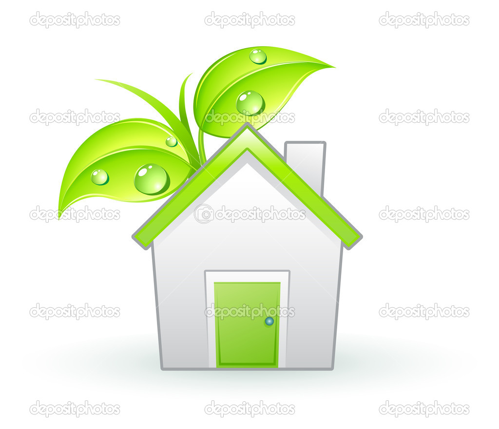 Vector illustration of Single eco icon - Green house and green leaves with water drops — Stock Vector #6919386