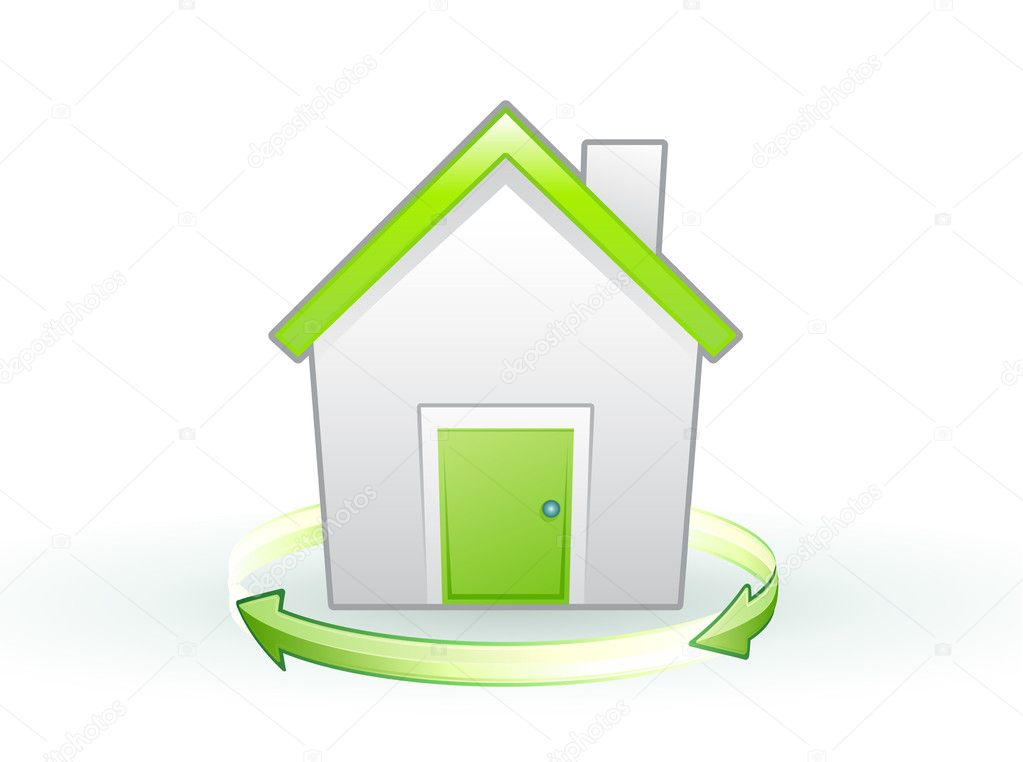 Vector illustration of Single eco icon - Green house  Stok Vektr #6940624