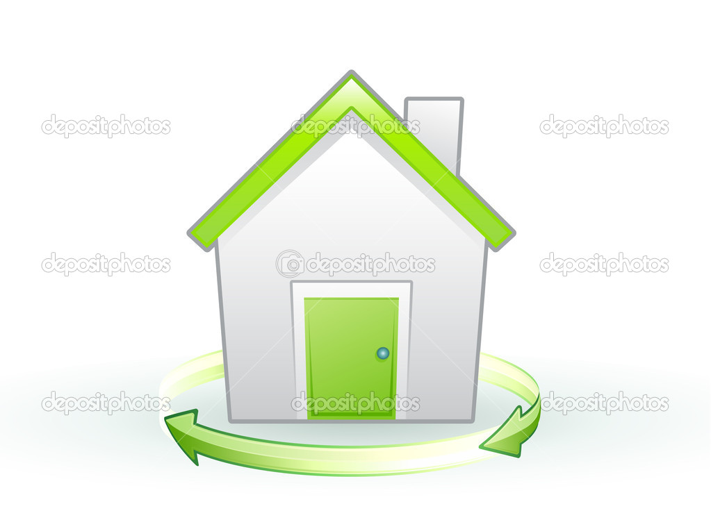 Vector illustration of Single eco icon - Green house  Stock vektor #6940624
