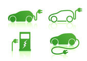Electric powered car icons — Stock Photo