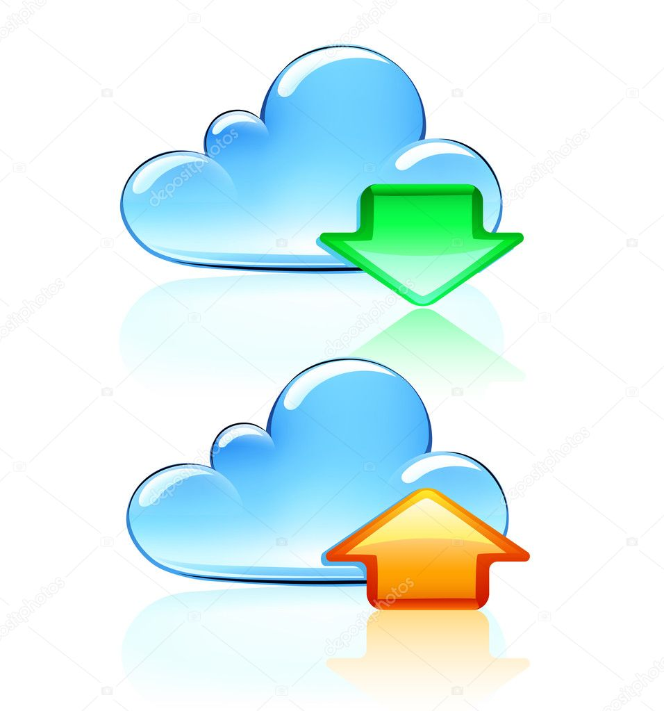 Illustration of Cloud Hosting Icons  — Stock Photo #7260558