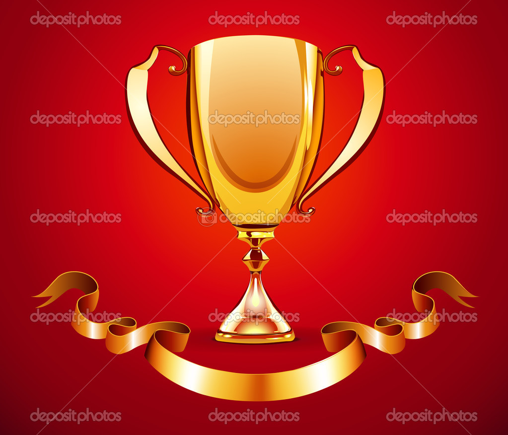 Illustration of golden trophy with ribbon badge to put a text — Stock Photo #7260687