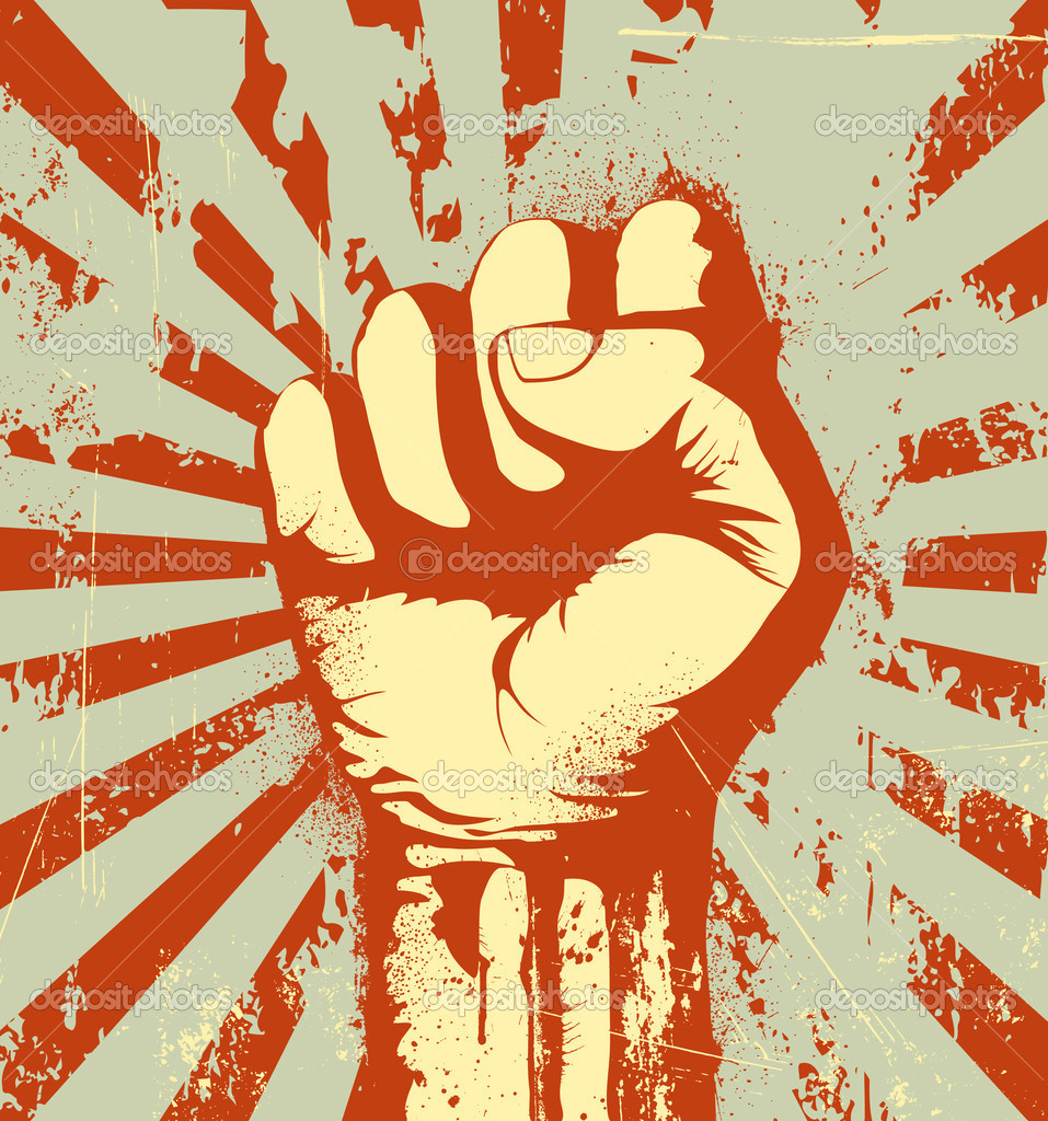Vector illustration of clenched fist held high in protest on the red grunge urban background — Stock Vector #7271870