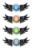 Winged round buttons — Stock Vector