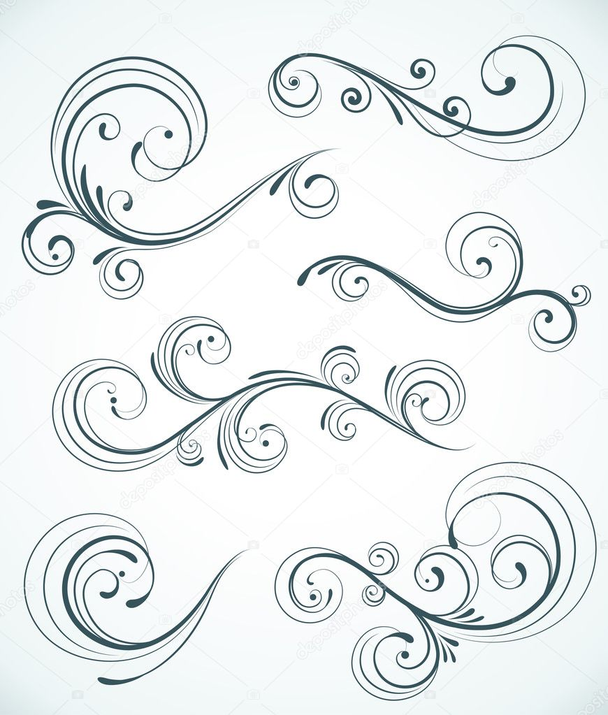 Vector illustration set of swirling flourishes decorative floral elements  — Stock Vector #7359901