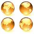 Stock Vector: Glossy Earth Map Globes