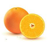 Verse, sappige sinaasappelen — Stockvector