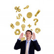 Business man shouting with numbers and symbols — Stock Photo #6842256
