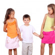 Two girls and a boy together in studio — Stock Photo #6843201
