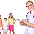 Stock Photo: Doctor and family with children