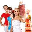 Pretty teenage girls with shopping bags — Stock Photo #6853190