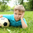 Little boy in the park with a ball — Stock Photo #6855454
