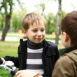 Boy on a bicycle in the green park — Stock Photo #6889242