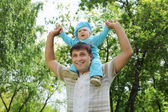 Father with his baby boy outside — Stock Photo